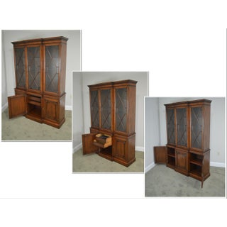 Kindel Chippendale Style Mahogany Breakfront Bookcase China Cabinet Preview
