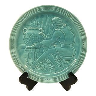 Vintage Aqua Ceramic Plate With Stand