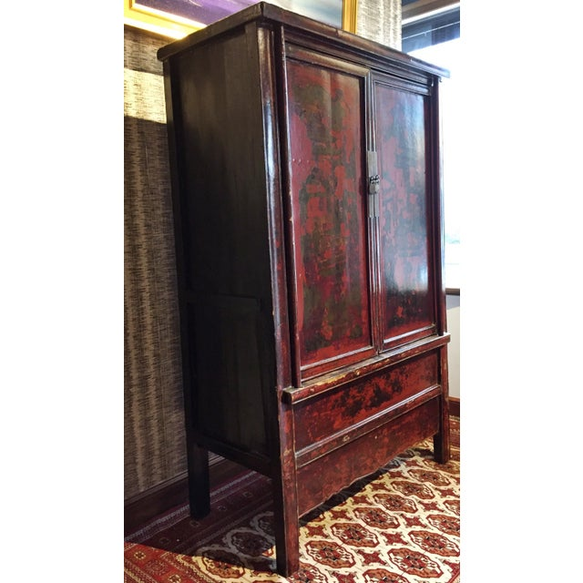 Antique Chinese Painted Wood Cabinet - Image 3 of 10