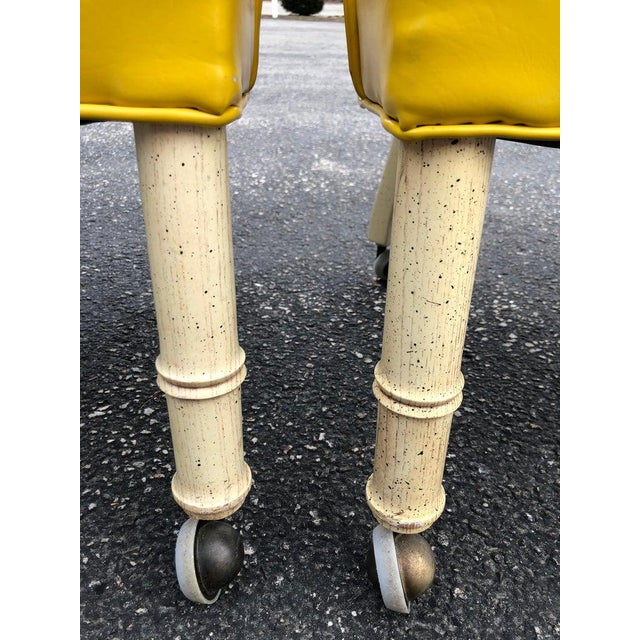1970s Vintage Yellow Channel Back Vinyl Chairs- A Pair For Sale - Image 12 of 13