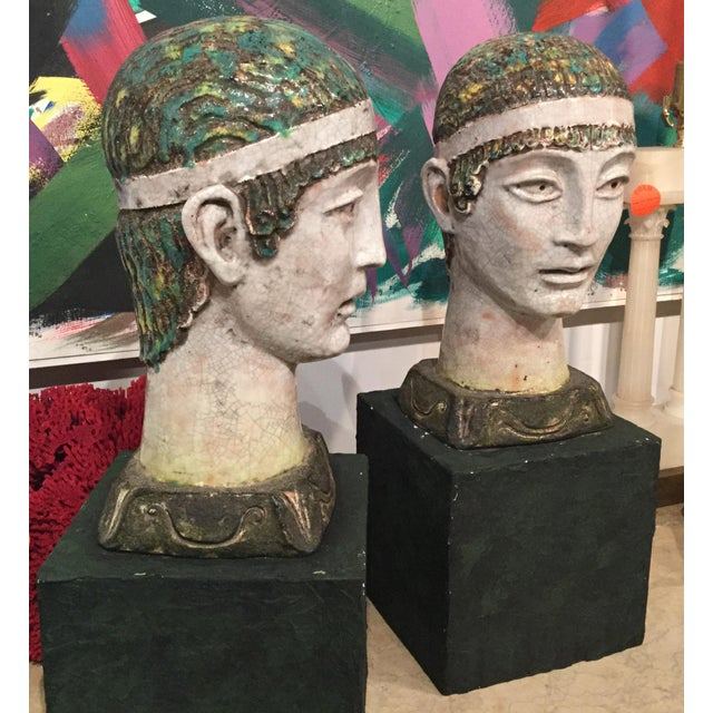 Mid 20th Century Pair of Unusual Mid Century Glazed Pottery Busts For Sale - Image 5 of 11