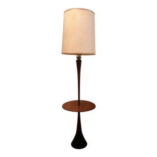 1960s Mid Century Danish Modern Laurel Wood and Metal Base Table Floor Lampwith Shade For Sale