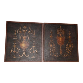 Maitland-Smith Decorative Handmade Paintings of Wedgwood Inspired Urn - A Pair