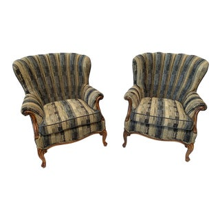 1930s Vintage Chenille Channel Back Chairs- Pair For Sale