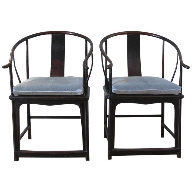 Large Antique Chinese Horse Shoe Back Chairs - 2 For Sale