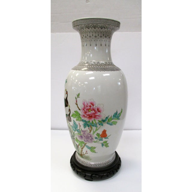 Chinese Peacock Vase On Stand Chairish