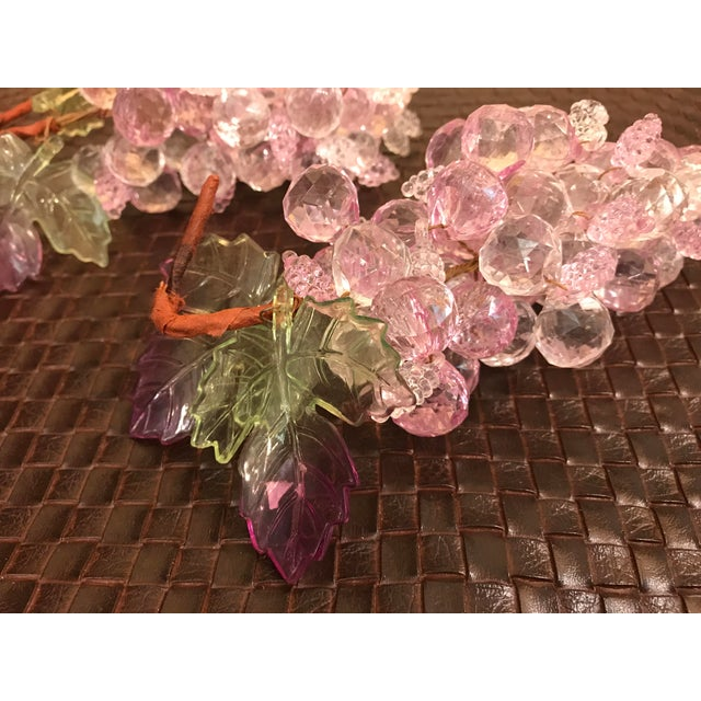 Lucite Pink & Clear Faceted Lucite Grapes - A Pair For Sale - Image 7 of 9