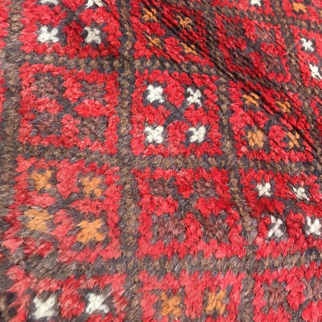 """Patterned Afghan Wool Rug - 3'6"""" X 5'8"""" For Sale - Image 12 of 13"""