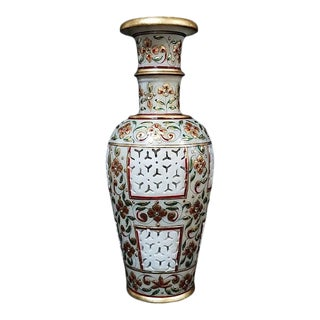 Handcrafted Marble Vase Decorated With Floral Design in Gold Leaf From India For Sale