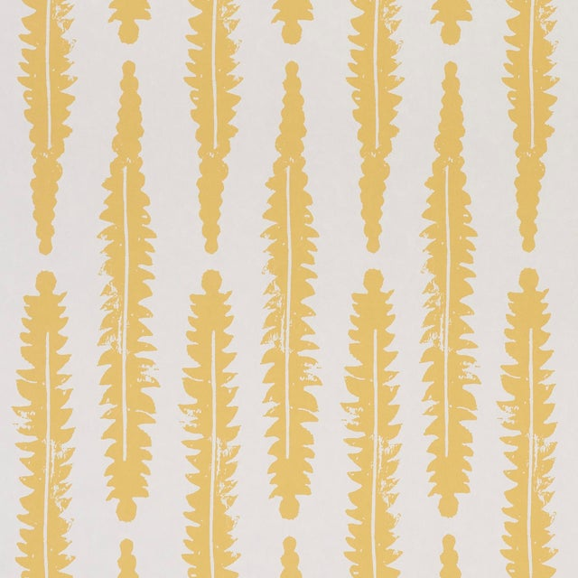 Sample - Schumacher x Molly Mahon Fern Wallpaper in Mustard For Sale