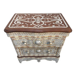 Syrian Middle Eastern White Mother-Of-Pearl Inlay Wedding Dresser For Sale