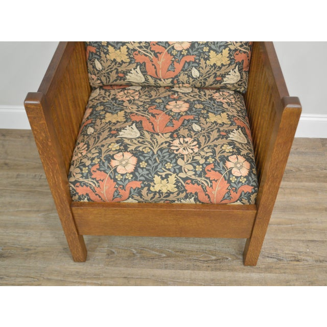 Black Stickley Mission Collection Oak Spindle Cube Chair For Sale - Image 8 of 13