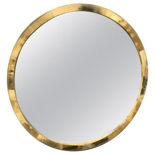 Polished Horn Circular Wall Mirror For Sale