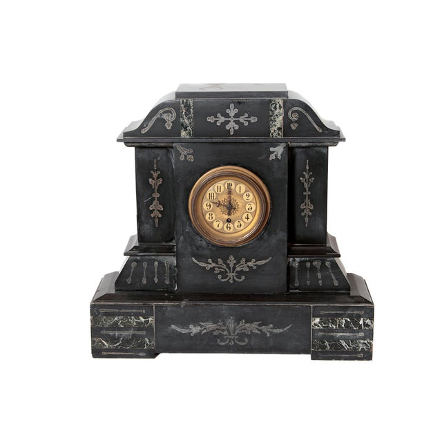 Marble 19th Century Victorian French Marble Mantel Clock For Sale - Image 7 of 7