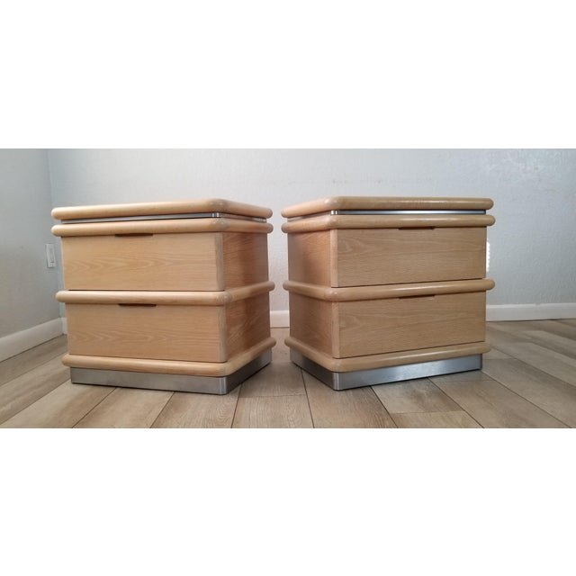 Postmodern Blonde Oak Nightstands by Jay Spectre - Pair. For Sale - Image 13 of 13