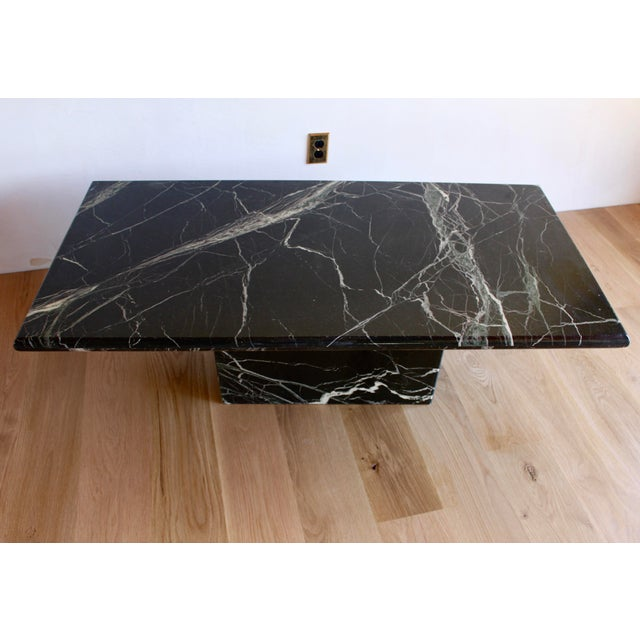 Stunning, massive, solid Italian marble pedestal coffee table. The name of the marble is Vert d'Egypt (or Egyptian Green)...