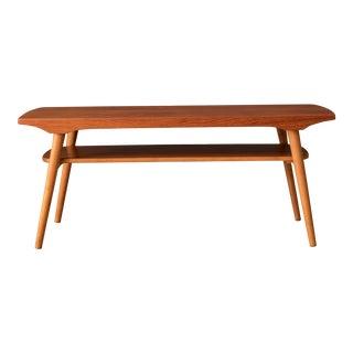 Vintage Scandinavian Two-Tier Teak Coffee Table For Sale