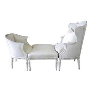 19th Century Louis XVI Style Three-Piece Chaise Brisse in Belgian Linen