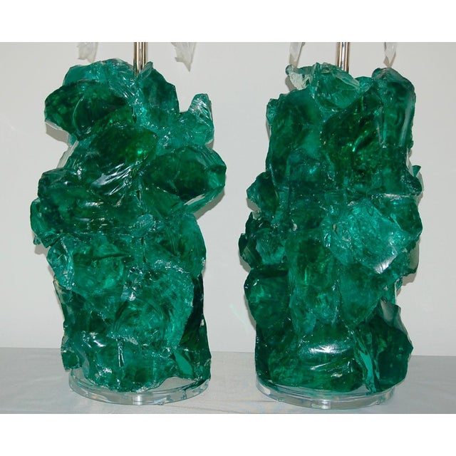 Swank Lighting Glass Rock Table Lamps by Swank Lighting Jade Green For Sale - Image 4 of 9