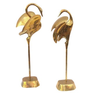 A Graceful Pair of Stylized Solid Brass Cranes
