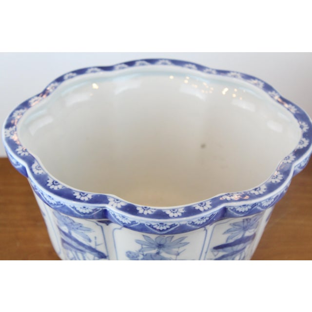 Asian Vintage Mid Century Lotus Pattern Planter For Sale - Image 3 of 7