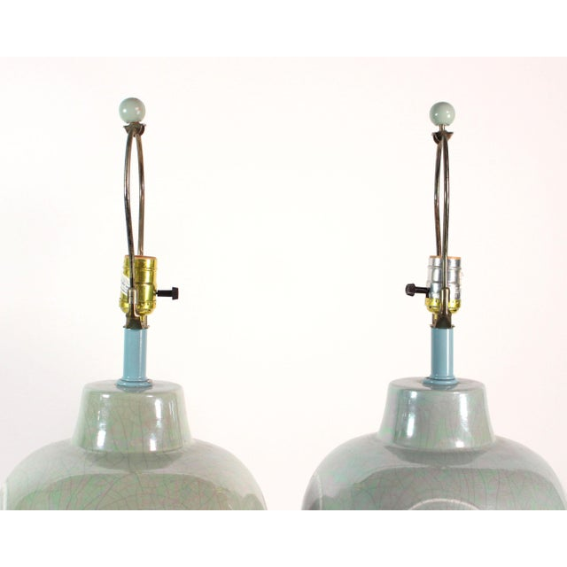 Sunset Lamps Artfully Hand-Glazed Vintage Lamp Pair From Sunset Lighting For Sale - Image 4 of 6
