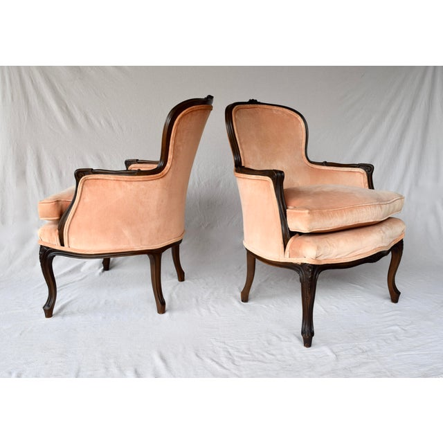 Pair of Louis XV Carved Walnut Bergere Chairs For Sale In Philadelphia - Image 6 of 12