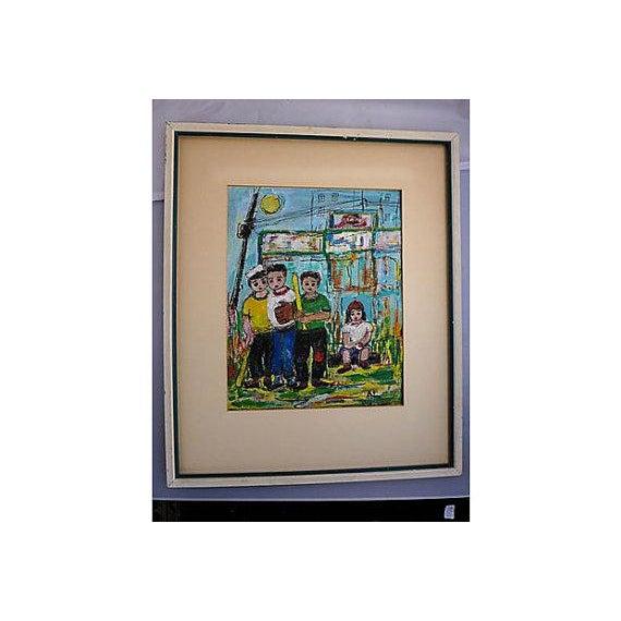 Original Oil Painting on Paper of Sandlot Kids - Image 2 of 6