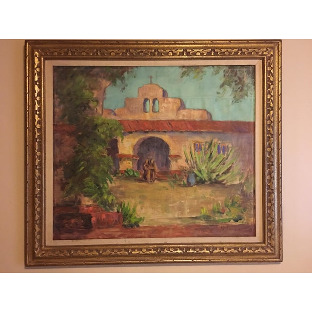Large Vintage Mission Oil Painting on Silk Faille - Image 2 of 9