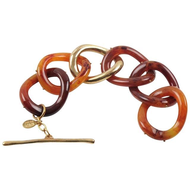 Kara by Kara Ross Tortoise Lucite and Gilt Metal Large Link Bracelet For Sale