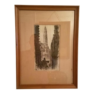 Original Paris of Mather Tower Chicago Etching by Ac Webb For Sale