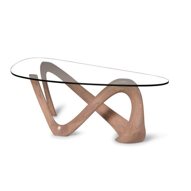 Wood Amorph Iris Gray Oak Stained Coffee Table With Glass Top For Sale - Image 7 of 13