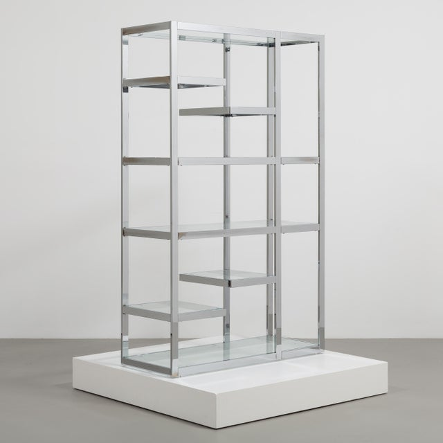 1970s A Single Chromium Steel Framed Etagere USA 1970s For Sale - Image 5 of 6