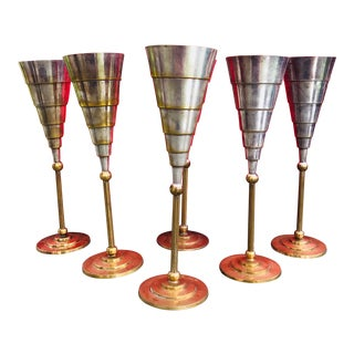 Silver Plated Brass Champagne Flutes - Set of 6 For Sale