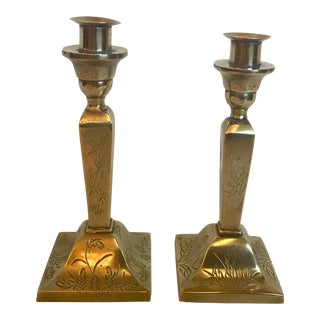 Vintage Etched Brass Candlesticks- a Pair For Sale
