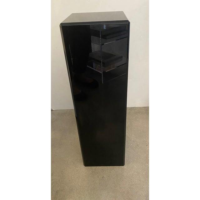 """Plastic Vintage Pedestal Black Lucite 26.5"""" High For Sale - Image 7 of 12"""