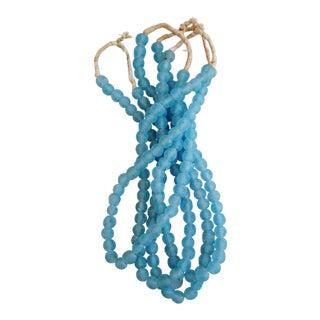 Nantucket Cape Cod Blue Glass Bead Strands- Set of 4 For Sale