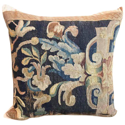 17th Century Tapestry Fragment Pillow For Sale