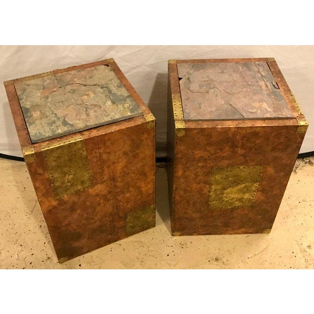 Pair of Paul Evans inspired end tables or pedestals. These fine bronze and metal with cooper hand hammered pedestal or end...