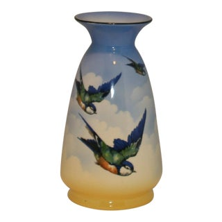 Vintage English Ceramic Hand Painted Falcon Ware Blue Bird Vase For Sale