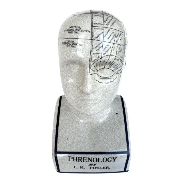 Vintage Ceramic Phrenology Bust/Head by L.N.Fowler, London. For Sale