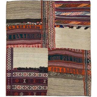 "Vintage Persian Flatweave Kilim Rug – Size: 5' 11"" X 6' 7"" For Sale"