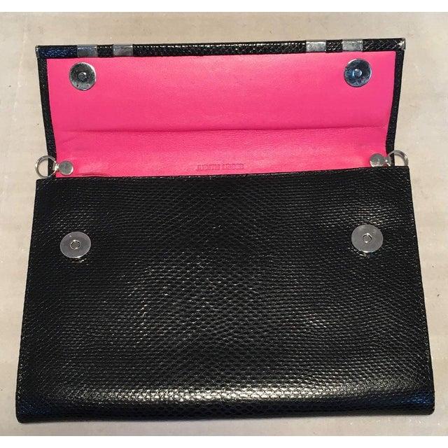 Judith Leiber Black Lizard Wallet Wristlet Clutch For Sale In New York - Image 6 of 10