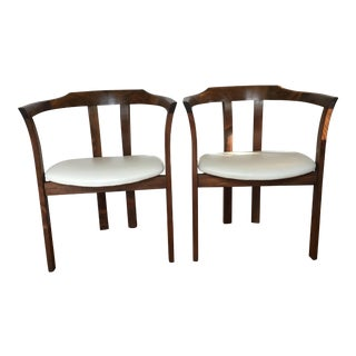 Han Olson Mid-Century Modern Ivory Leather Walnut Side Chairs - a Pair For Sale