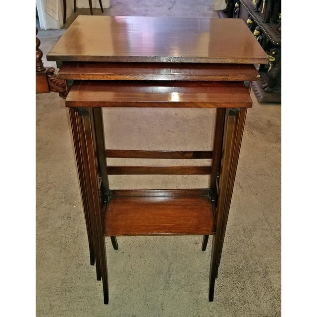 Early 20c British Mahogany and Inlaid Nest of Tables For Sale - Image 13 of 13