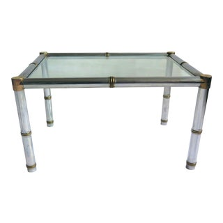 Hollywood Regency Steel and Brass Bamboo Style Coffee Table For Sale