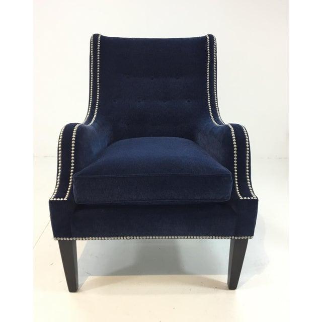Thomasville Blue Velvet Chandon Club Chair For Sale In Atlanta - Image 6 of 6