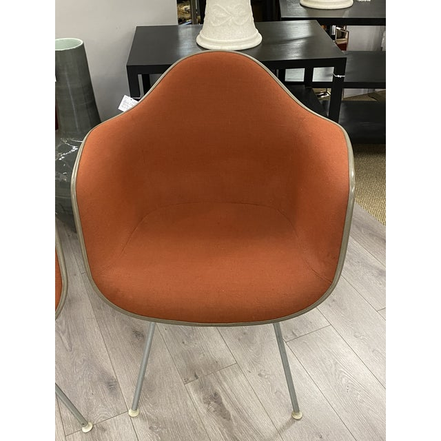 Modern Vintage Herman Miller Chairs Upholstered Fiberglass Chairs Signed For Sale - Image 3 of 10