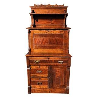 Antique Eastlake Victorian Carved Walnut Drop Front Secretary For Sale