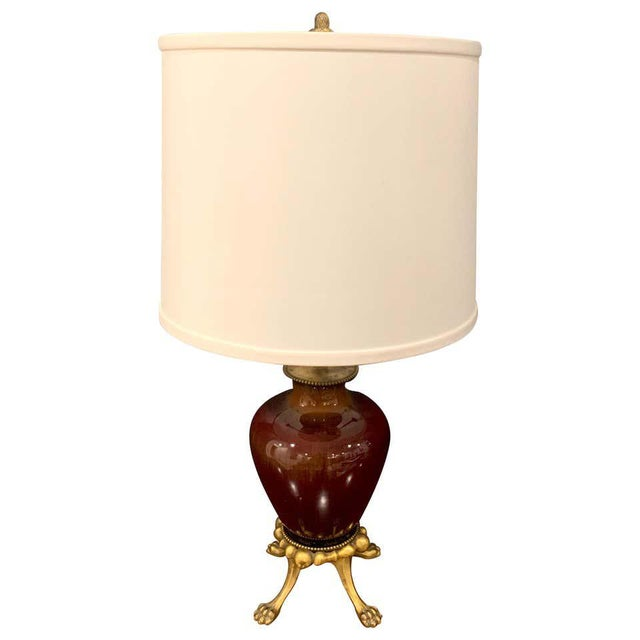Early 20th Century Sang De Boeuf, Ormolu Mounted Vase by Rookwood 1936 Now as a Lamp, Dark Glaze For Sale - Image 5 of 5